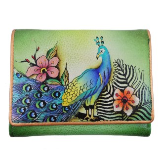 Anuschka RFID Small French Wallet Genuine Handpainted Leather Passionate Peacocks