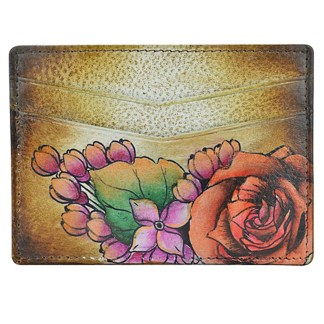 Anuschka Genuine Leather Credit Card Holder Hand Painted Lush Lilac- Bronze