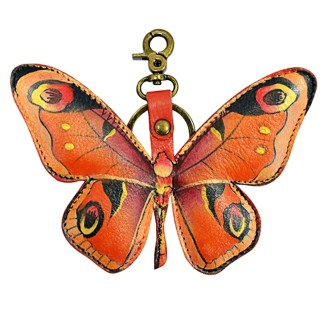 Anuschla Leather Handpainted Key Chain Purse Charm Butterfly BlueAnuschla Leather Handpainted Key Chain Purse Charm Butterfly Orange