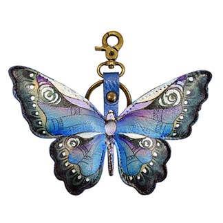 Anuschla Leather Handpainted Key Chain Purse Charm Butterfly Blue