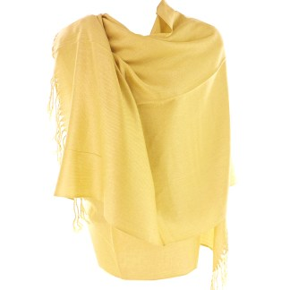 Silver Fever Nepal Solid 2 Ply Pashmina Shawl Scarf Stole Light Yellow