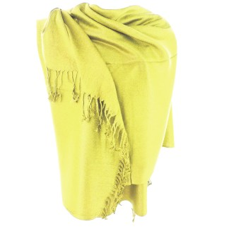 Silver Fever Nepal Solid 2 Ply Pashmina Shawl Scarf Stole Lemon Yellow