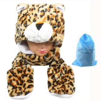 Silver Fever® Plush Soft Animal Beanie Hat w/ Built-In Mittens Paws Leopard