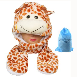 Silver Fever® Plush Soft Animal Beanie Hat w/ Built-In Mittens Paws Giraffe
