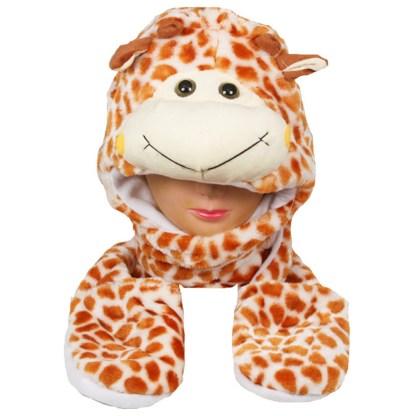 Silver Fever® Plush Soft Animal Beanie Hat w/ Built-In Mittens Paws Giraffe