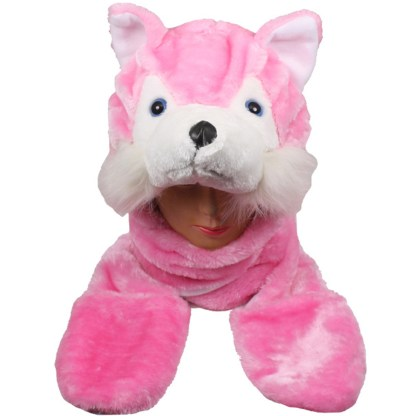 Silver Fever® Plush Soft Animal Beanie Hat w/ Built-In Mittens Paws Pink Husky