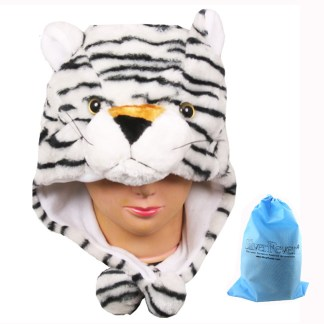 Silver Fever® Plush Soft Animal Beanie Ski Hat  White Tiger
