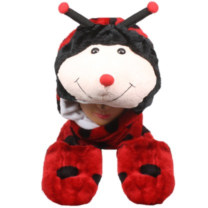 Silver Fever® Plush Soft Animal Beanie Hat with Built-in Earmuffs, Scarf, Gloves Lady Bug