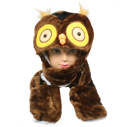 Silver Fever® Plush Soft Animal Beanie Hat with Built-in Earmuffs, Scarf, Gloves Fluffy Neon Bear