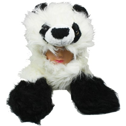 Silver Fever® Plush Soft Animal Beanie Hat with Built-in Earmuffs, Scarf, Gloves Fluffy Panda