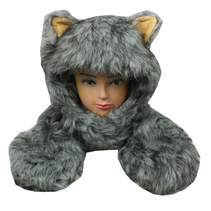Silver Fever® Plush Soft Animal Beanie Hat with Built-in Earmuffs, Scarf, Gloves Fluffy Grey Huscky