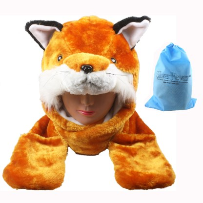 Silver Fever® Plush Soft Animal Beanie Hat with Built-in Earmuffs, Scarf, Gloves Fox