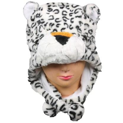 Silver Fever® Plush Soft Animal Beanie Ski Hat White Leopard