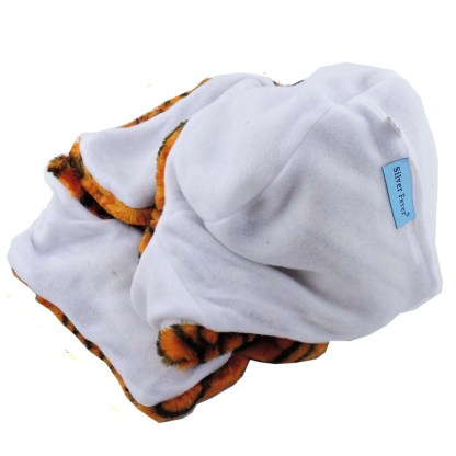 Silver Fever® Plush Soft Animal Beanie Hat w/ Built-In Mittens Paws White Tiger