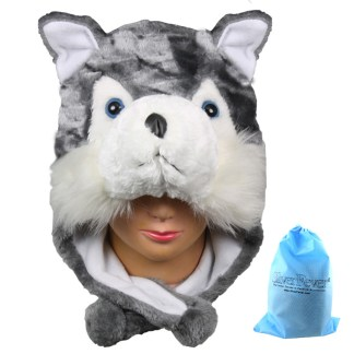 Silver Fever® Plush Soft Animal Beanie Ski Hat Huskey