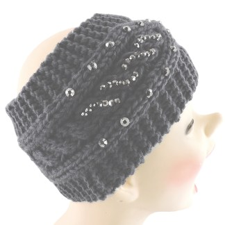 Silver Fever® Women Chunky Knitted Headband  Hair Band Head Wrap Earmuff Charcoal with Crystals