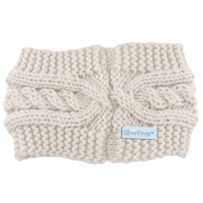 Silver Fever® Women Chunky Knitted Headband  Hair Band Head Wrap Earmuff White with Crystals