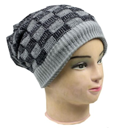 Silver Fever® Women Knitted Winter Hat Cup Ski Outdoor Sport Fashion Binnie Skullies Grey Black Double Sided
