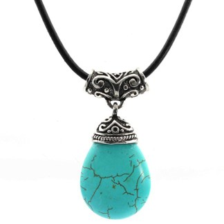 Silver Fever Fashion Gemstone Necklace Pendant on Leather Cord Or Chain Turquoise Filigree Teardrop 18""