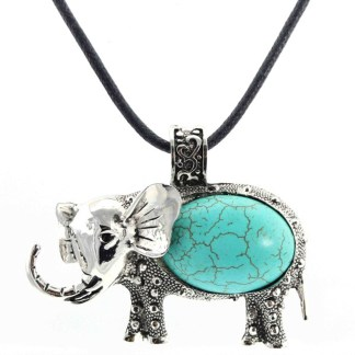 Silver Fever Fashion Gemstone Necklace Pendant on Leather Cord Or Chain Turquoise Elephant 18""