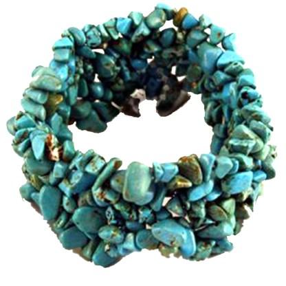 Silver Fever Genuine Gem Stone Chunks Stretchable Bracelet Turquoise