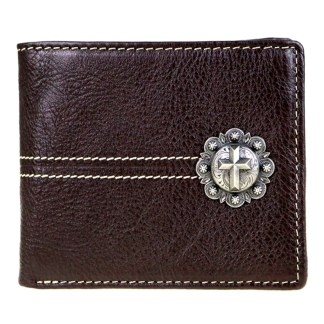 Genuine Leather Tooled Men's Wallet Coffee Cross 2 Fold