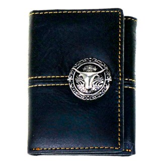 Genuine Leather Tooled Men's Wallet Coffee Stitched 2 Fold