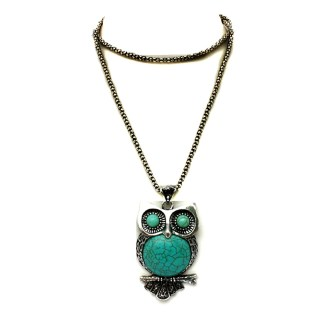 """Silver Fever Fashion Gemstone Necklace Pendant on Chain Turquoise Owl 30"""""""