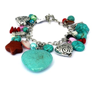 Silver Fever Inspiration Power Gemstones Charm Link Bracelet Turquoise Heart & Novelty Charms