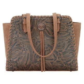 American West Bandana Shoulder Zip Top Handbag  Brown Trinity Trail