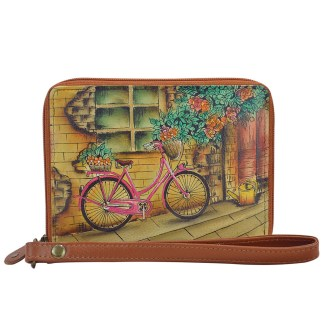 Anuschka RFID Wallet - Zip Around Organizer Wristlet - Hand Painted Leather  Vintage Bouquet
