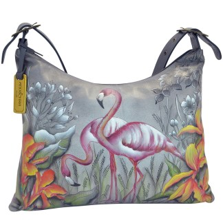 Anuschka Large Slim Hobo- Hand Painted Real Leather Handbag Flamboyant Flamingo