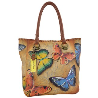 Anuschka Large Shopper- Hand Painted Real Leather Tote Handbag Earth Song