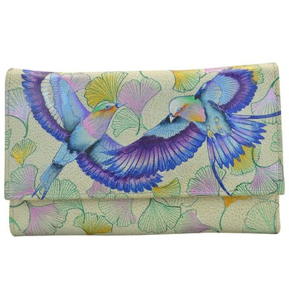 Anuschka Leather Checkbook Wallet Hand Painted Wings Of Hope