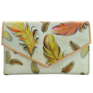 Anuschka Genuine Leather Hand Painted Envelope Wallet Clutch Floating Feathers Ivory