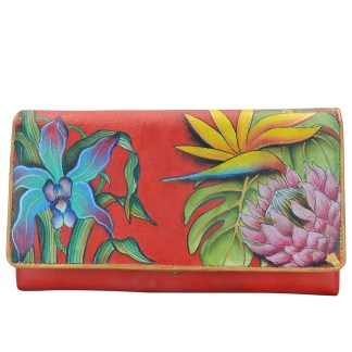 Anuschka Genuine Leather Accordion Flap Wallet Hand Painted Island Escape