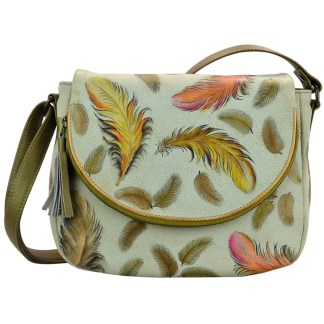 Anuschka Leather Medium Convertible - Flap Over Shoulder Handbag -Hand Painted  Floating Feathers Ivory