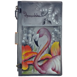 Anuschka Leather Large Smart Phone Case & Wallet Bag  Flamboyant Flamingo
