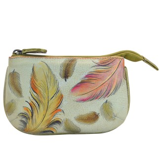 Anuschka Hand Painted Genuine Leather Medium Coin Purse Floating Feathers Ivory