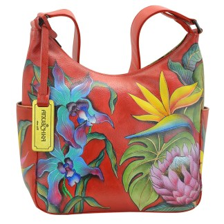 Anuschka Classic Genuine Leather Handpainted Hobo Side Pockets Island Escape