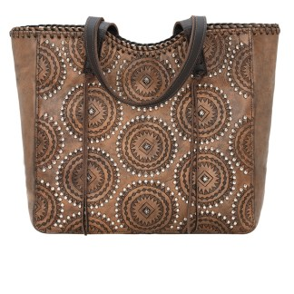 American West Leather Tote- Multi Compartment Carry on Bag Kachina Spirit  Chestnut