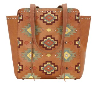 American West Leather Tote- Multi Compartment Carry on Bag Adobe Allure Vertical Golden