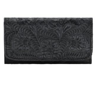 American West Leather Ladies' Tri-Fold French WalletSanta Barbara Black