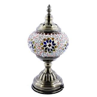 Silver Fever Handcrafted Mosaic Turkish Lamp -Moroccan Glass - Table Desk Bedside Light- Bronze Base-Flower Burst