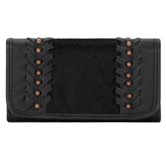 American West Leather Ladies' Tri-Fold French Wallet Cow Town Black w Hair