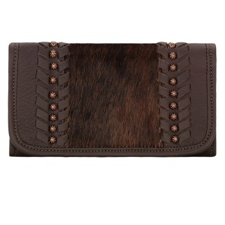 American West Leather Ladies' Tri-Fold French WalletCow Town Chocolate w Hair