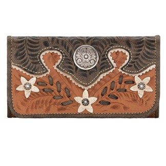 American West Leather Ladies' Tri-Fold French Wallet Desert Wildflower Tan Brown