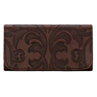 American West Leather Ladies' Tri-Fold French Wallet Barogue Chestnut
