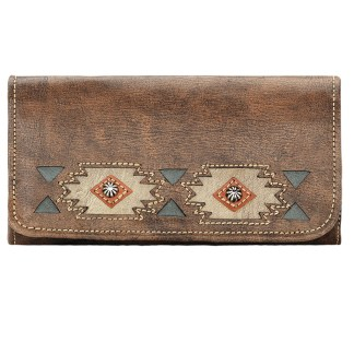 American West Leather Ladies' Tri-Fold French Wallet Native Sun Charcoal Brown