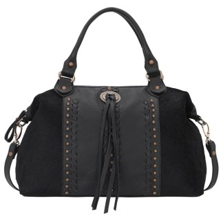 American West Satchel-Leather Zip Top Convertible Bag Cow Town Black w Hair